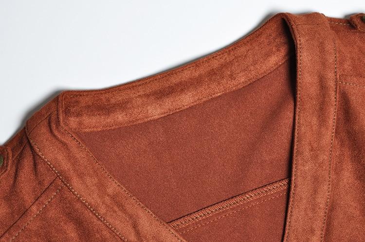 Manica Cintura Pelle Marrone Donna Un In Lunga Up Brown Vintage Da Autunno Di Pista Vestito Abiti V Cowboy Linea 2018 Dress Pulsante Neck Vestiti Inverno Scamosciata vnxfpqavUw