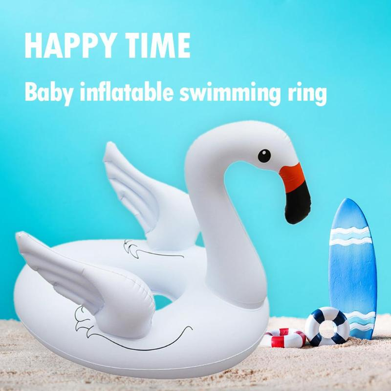 Baby Pool Float Inflatable White Swan Swimming Ring Thicken Seat Float Water Toy Cute Durable Swim Ring Kids Pool Water Fun Toys