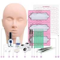 New Eyelash Extension Black Natural Kit Full Salon Necessary Tools 13pcs Grafting Practice tool For Eye Lash Graft Bag Mink