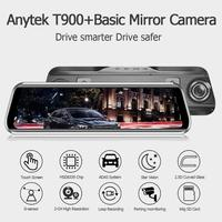 Anytek T900+ 9.66 Inch Touch IPS Car Rearview Mirror DVR Camera Front 1080p+Rear 1080p ADAS WDR Dash Cam Driving Recorder