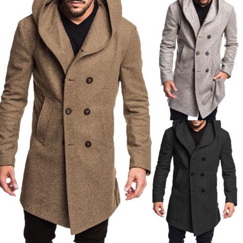 2018 Mode Marke Neue Winter Männer Britischen Stil Woll Casual Graben Mantel Mantel Lange Wolle