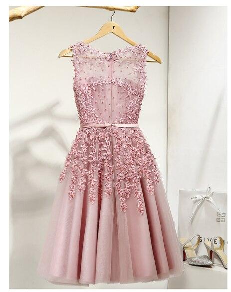2019 vente chaude élégant genou longueur femmes filles robes Appliques perles robes de soirée formelles rose rouge bleu clair - 3