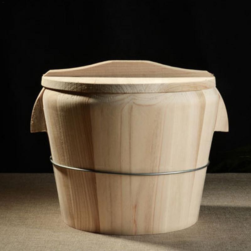 Natural Wooden Kitchen Tool Portable Lid Steaming Rice Bucket Steamed Rice Barrel Canteen Restaurant Steamer Fir Rice Bucket