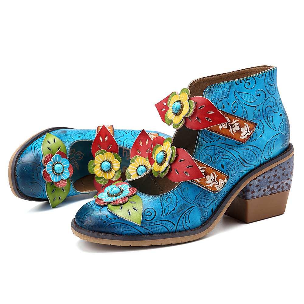 SOCOFY Elegance Vintage Retro Floral Pattern Genuine Leather Stitching Hook Loop Pumps Bohemian Pumps Ladies Shoes Ladies Shoes