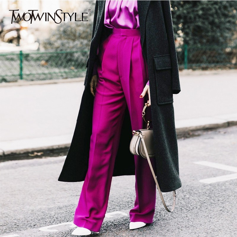 TWOTWINSTYLE Long Pants Female High Waist Solid Straight Trousers For Women Large Size Casual Fashion 2019 Spring Clothes New
