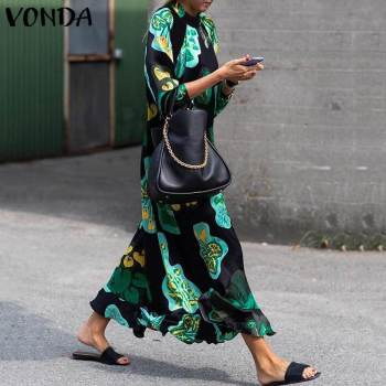 2020 VONDA Summer Dress Women Long Maxi Dress Vintage Floral Printed Long Sleeve Loose Beach Sundress Plus Size Casual Vestidos women short sleeve long dress summer ethnic style digital print maxi dresses girls loose split beach sundress vestidos