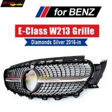 W213 Sports Diamond Grille grill ABS Silver With Camera For Mercedes Benz E class E200 E250 E300 E350 E63 look grills 2016-2018