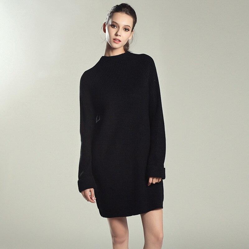 20dc1e060 Rejina Pyo Mujeres de Gran Tamaño de Cuello Alto de Punto Básico Femenino Suéter  de Cuello