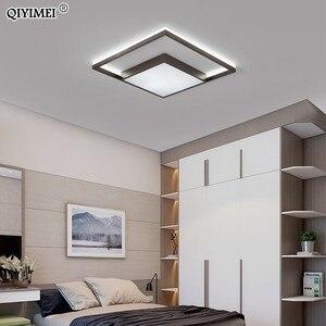 Image 2 - Kare Led tavan ışıkları oturma odası yatak odası uzaktan kumanda Lamparas De Techo Moderna altın kahve çerçeve ev armatürleri