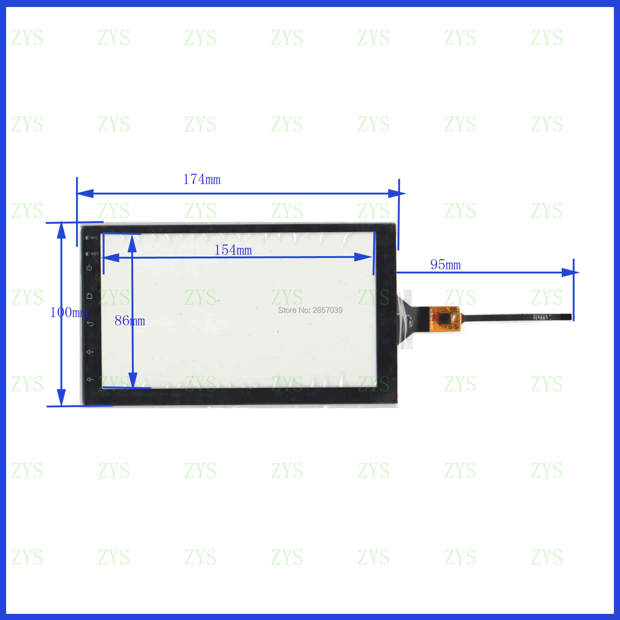 ZhiYuSun XY-PG70049-FPC 7inch Capacitive Screen For GPS CAR 175mm*100mm Touchsensor Glass