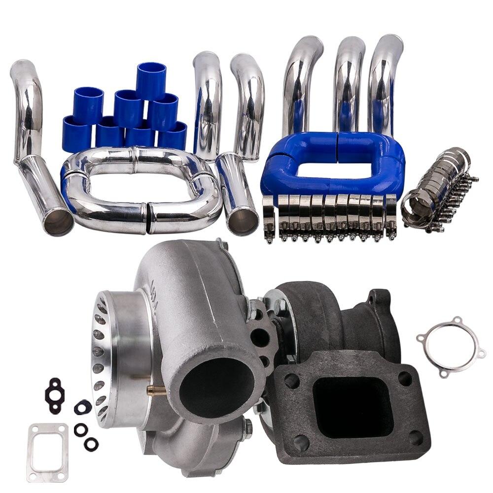 GT35 GT3582 GT3582R Turbo pour R32 R33 R34 RB25 RB30 T3. 70. 63 turbocompresseur A/R + kit de tuyau de tuyauterie intercooler universel 2.5 pouces