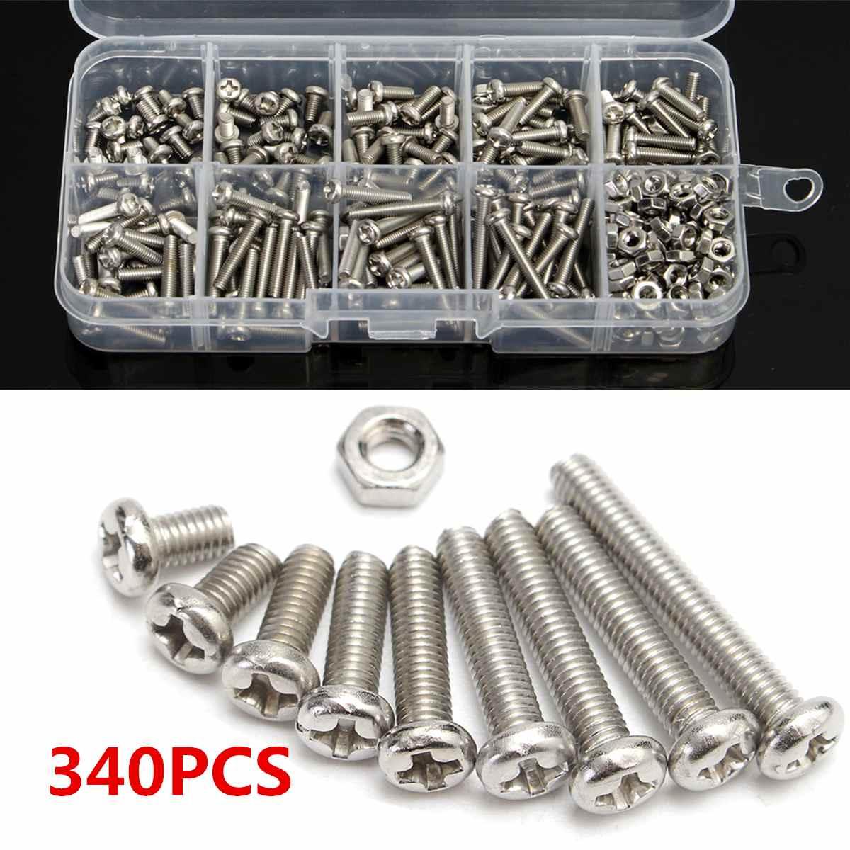 340 pçs/caixa m3 304 aço inoxidável cruz-fone de ouvido parafuso parafusos porca cabeça parafuso conjunto fixador sortimento kit ferramentas de reparo conjunto