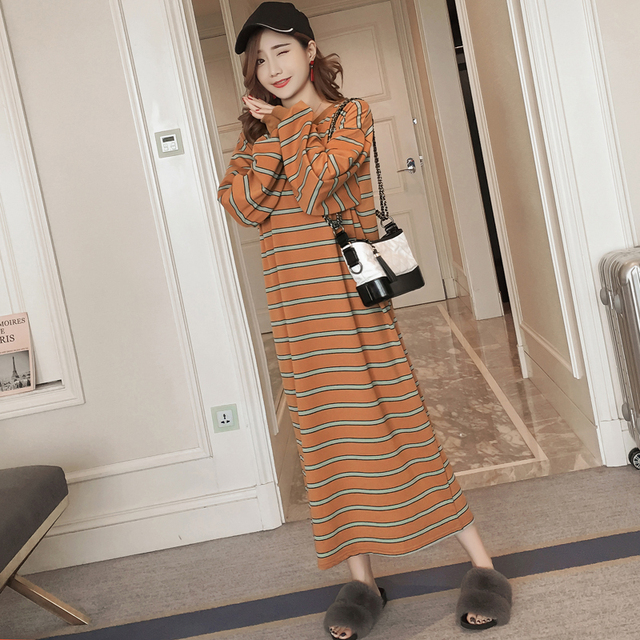 #4949 Spring Autumn Stripe Long Sleeve T Shirt Dress Women Plus Size Brown Color Korean Style Straight Loose Womens Clothing