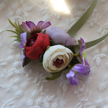 Manual Tea Rose Purple Daisy Wedding Wrist Corsages And Boutonnieres Flowers Favors Gifts mariage Party Supplies