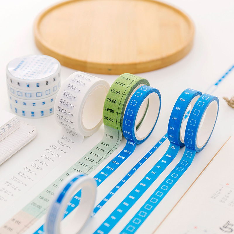 Creative Weekly Washi Tape Daily Calendar Time Planner Sticker Notebook Diy Scrapbooking School Accessories Supplies Stationery