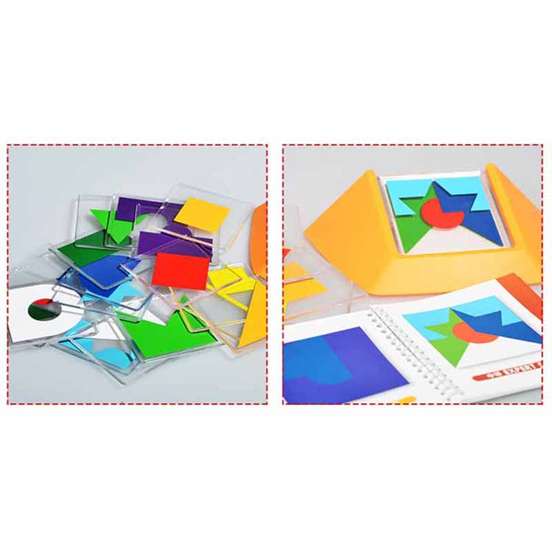 100 Challenge Color Code Puzzle Games Tangram Jigsaw Board Puzzle Toy Children Kids Develop Logic Spatial