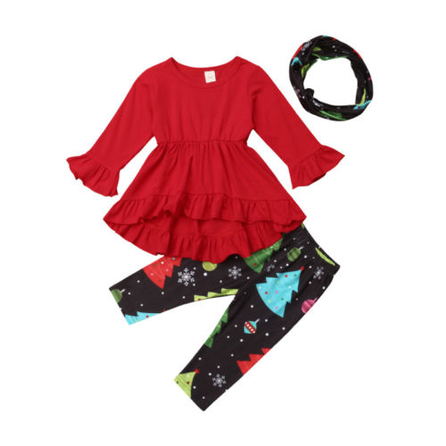 3Pcs Toddler Baby Girls Ruffle Flare Tunic Dress Top Floral Xmas Print Leggings Pants Scarf Fall Winter Outfit Set Clothes