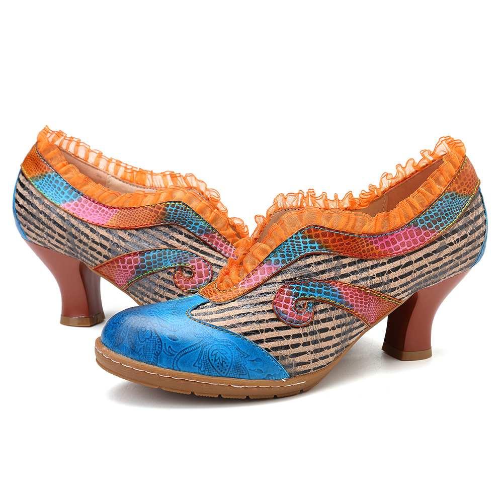 Socofy 우아함 레이스 숙녀 신발 정품 가죽 접합 검은 줄무늬 v 입 와인 글라스 발 뒤꿈치 슬립 펌프 여성 발 뒤꿈치 새로운-에서여성용 펌프부터 신발 의  그룹 2