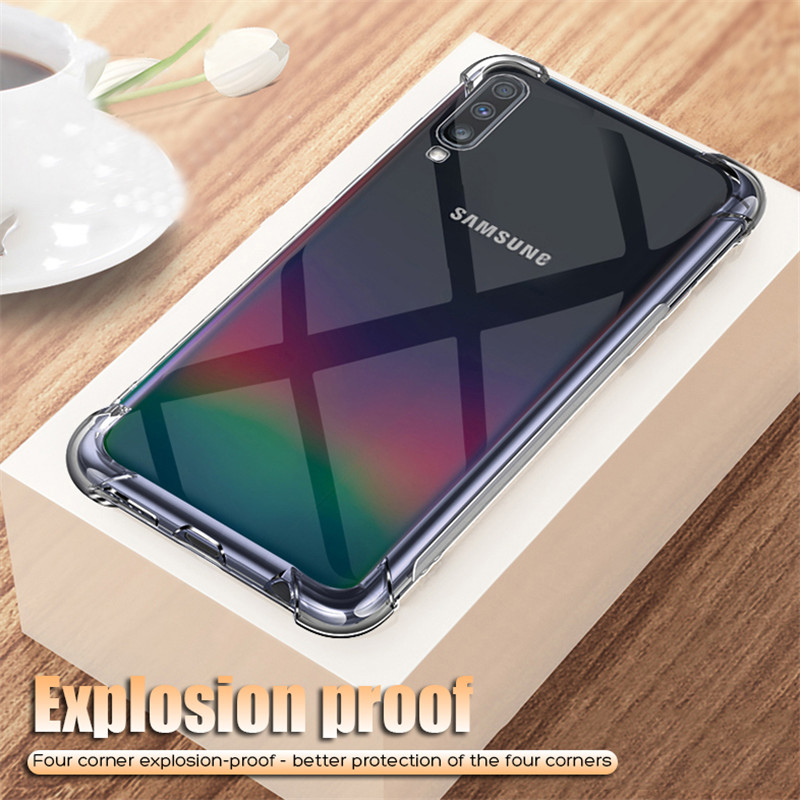 <font><b>Luxury</b></font> Shockproof Bumper Transparent Silicone Phone <font><b>Case</b></font> For <font><b>Samsung</b></font> <font><b>Galaxy</b></font> A50 <font><b>A30</b></font> A20 A10 A60 A70 Clear protection Back Cover image