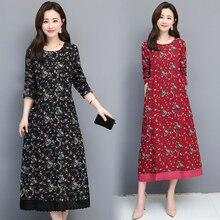 2019 Spring Autumn Women Cotton Linen Dress Vintage O-neck Long Sleeve Floral Printed Dresses Vestidos цена