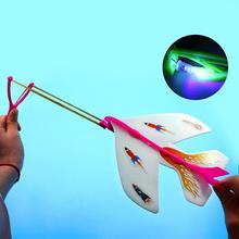 Funny Ejection Illuminating Aircraft Model Glint Elastic Gyro Aircraft Illuminating Elastic Plane Toy for kids adult-cashback