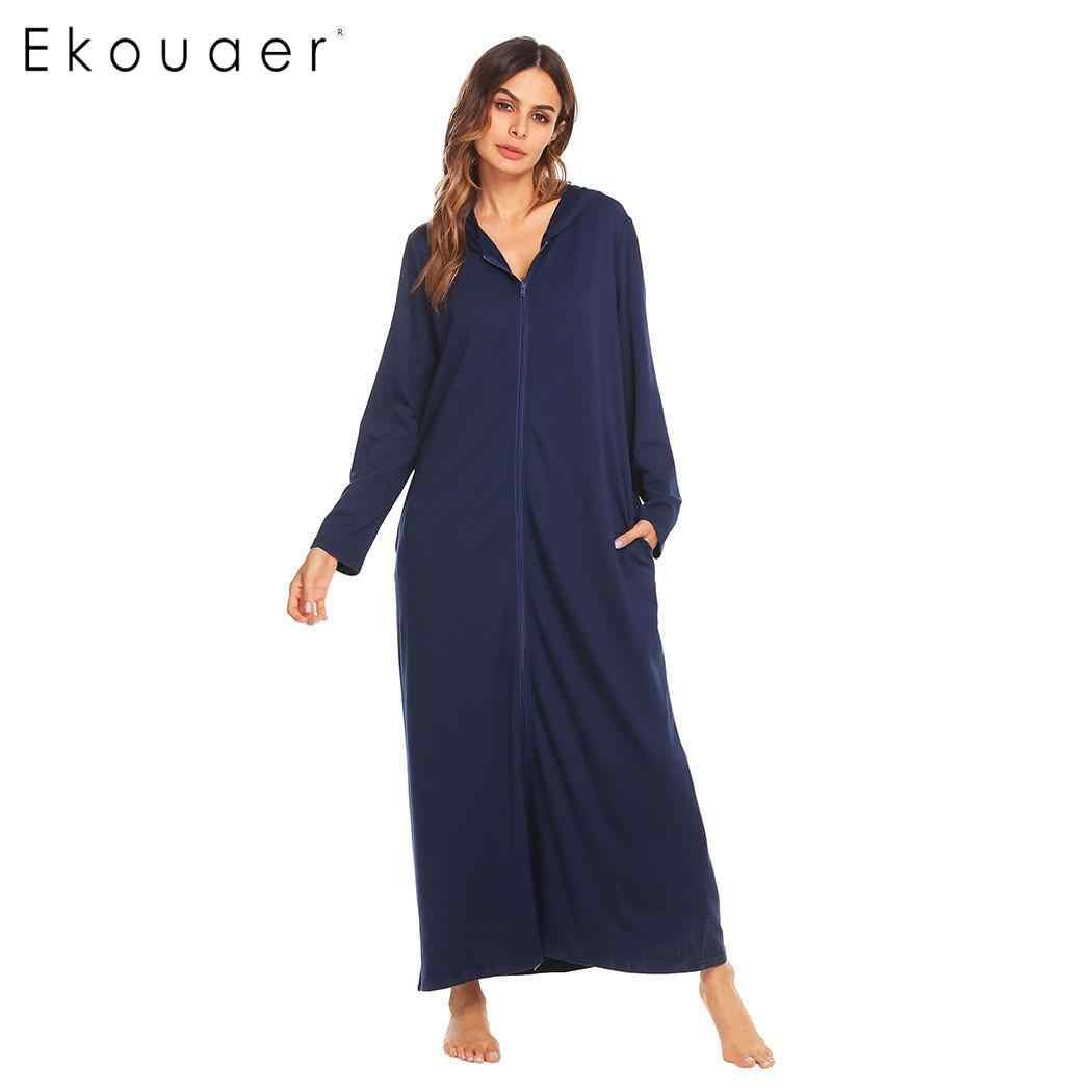 ... Ekouaer Robes Women Dressing Gown Bathrobes Zip-front Women Long Sleeve  Hooded Bathrobe Spa Kimono ... ea12eae36d