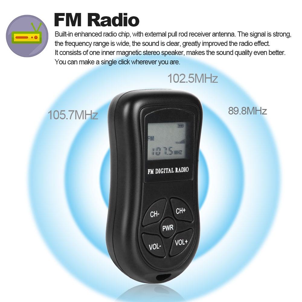 Radio Mini Fm Stereo Radio Mit 1,15 Zoll Lcd Display Bildschirm Lanyard Tragbaren Radios Digitale Dsp Empfänger Dropship Unterhaltungselektronik