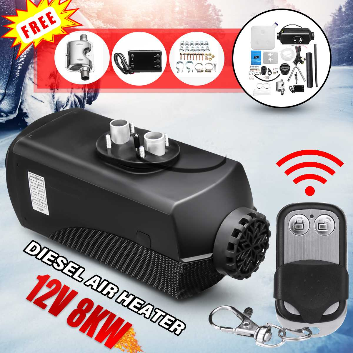 12V 8000W 8KW Diesels Fuel Air Heater W/Remote Control LCD Monitor Thermostat For Truck Boat Car Auto Trailer Inside Air Warming