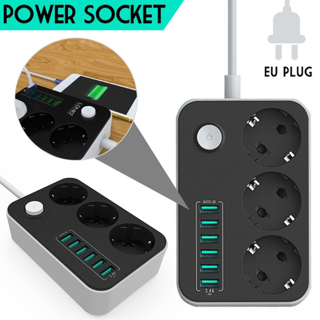 6 USB Ports Socket Charger Extension power strip  Charging Ports 2500W 10A Power Strips extension EU Plug Outlet for sockets