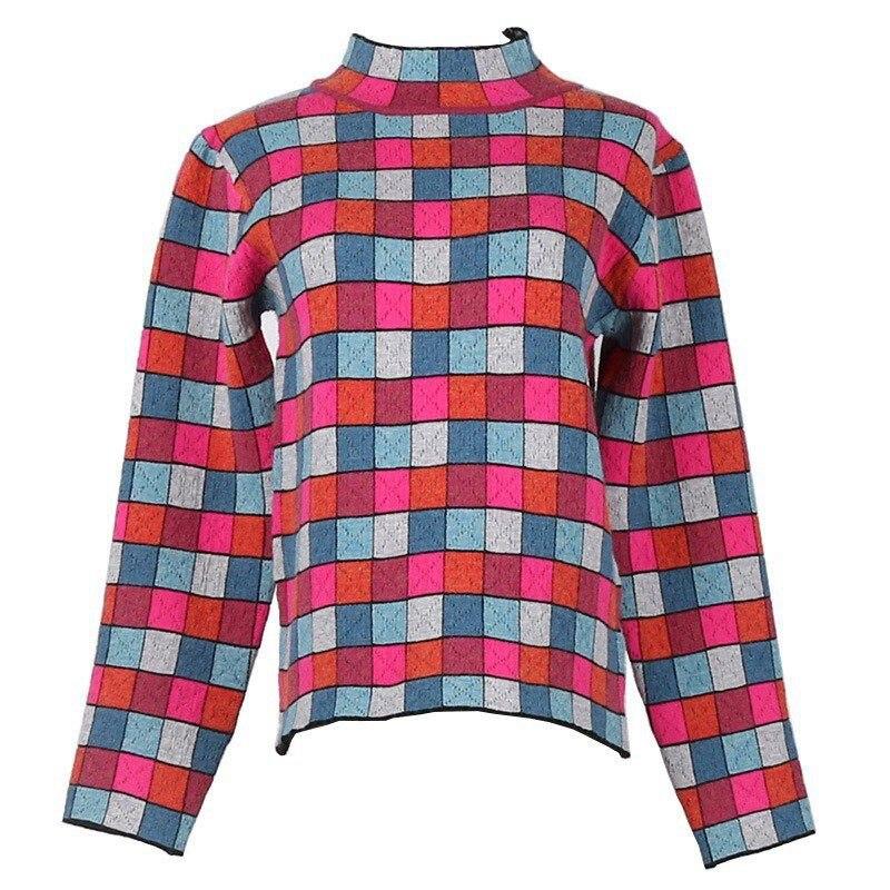 2018 automne hiver piste pull femmes laine pull Multi couleur bloc Plaid Vintage col roulé Jersey tricoté chandails