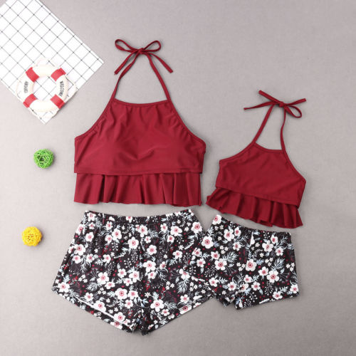 Sexy Mother Daughter Family Matching Outfit Floral Halter Backless Tops Swimwear Bikini Swimsuit Swim Clothes