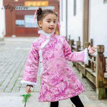 9049db889 Bebé niñas Floral imprimir vestido de estilo chino Cheongsam infantil para  niños de invierno Qipao de niños Año nuevo ropa