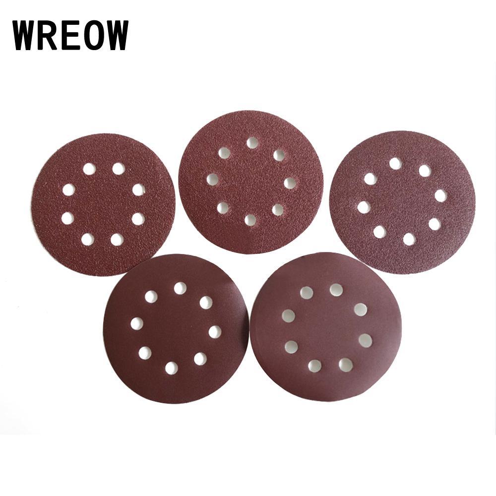 Aluminum Oxide 10pcs 125mm 5 Inch Sanding Discs Sandpaper Pad 8Hole Sanding Discs For Random Orbital Sander Polishing For Glass