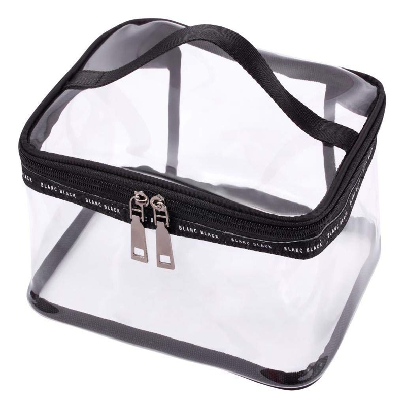 Black + Transparent Travel Cosmetic Bag Makeup Train Case Organizer With Top Handle