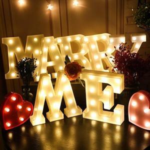 Image 1 - 3D 発光文字夜の光ホームベッドサイドランプロマンチックなウェディングパーティーデコレーションライト子供の寝室の装飾 22 センチメートル