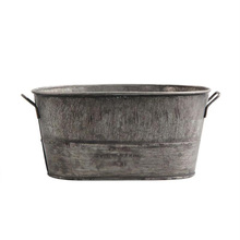 Galvanized Metal Flower Plant Pot Antique Finish Bucket Shape Home Garden Decors