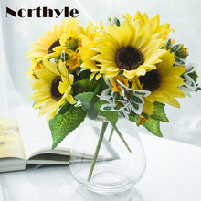 Dream House DH TZ126361 potted fake sunflower artificial flowers home decor 1pcs glass vase + 3pcs wedding flower deco