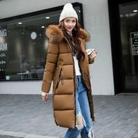 New 2018 Fashion Winter Jacket Female Hooded Cotton padded Slim Long Big Fur Collar Warm Coat Epaulet Parkas Women's Outwear