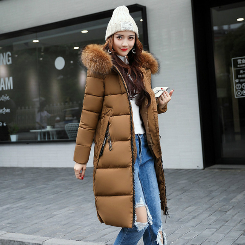 New 2018 Fashion Winter Jacket Female Hooded Cotton-padded Slim Long Big Fur Collar Warm Coat Epaulet   Parkas   Women's Outwear