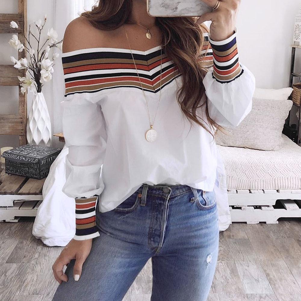 2019 été nouveau femmes mode à manches longues hors épaule Slash cou Blouses blanches chemises décontracté Slim hauts chemises Blusas