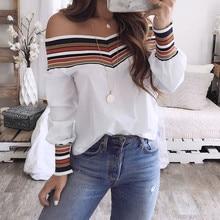 2019 Summer New Women Fashion Long Sleeve Off Shoulder Slash neck White Blouses Shirts Casual Slim Tops Shirts Blusas