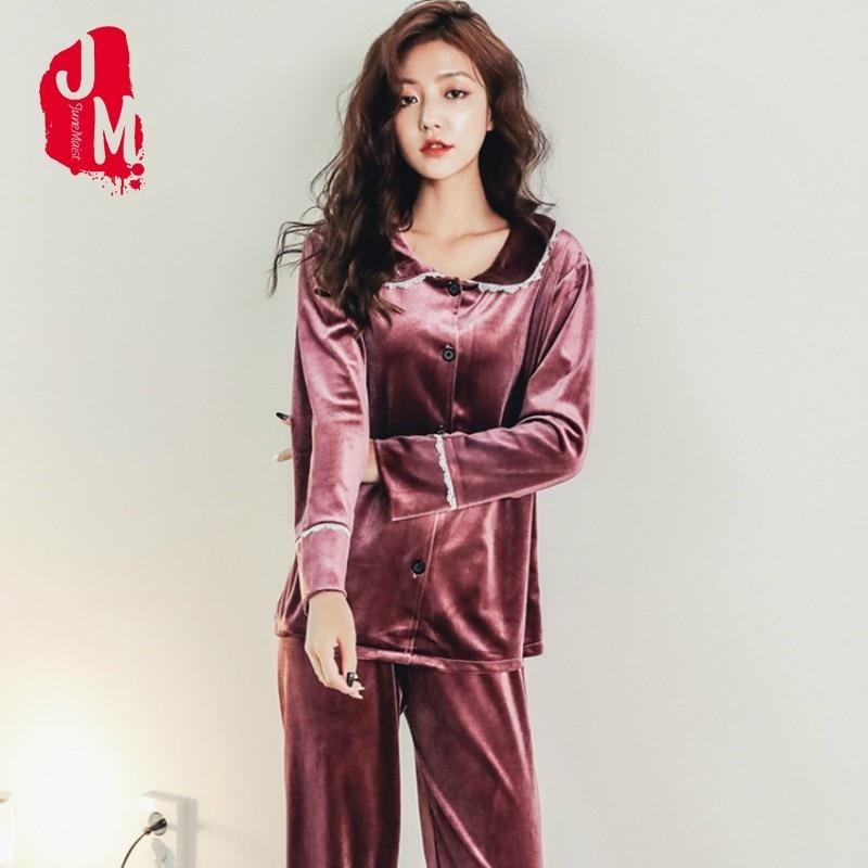bd454918c3 New Winter Pajamas Women Warm Velvet Pijama Long Pajamas Set Christmas Pajamas  Pyjamas Leisure Sleepwear Set Top +Pant Sets L XL