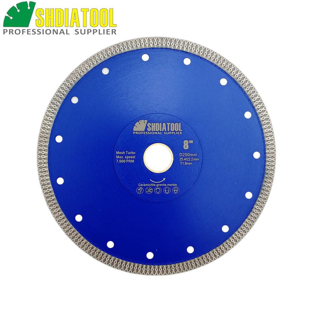 "SHDIATOOL 1pc Dia 8""/200mm Hot pressed sintered X Mesh Turbo Diamond Saw blade circular Wheel Cutting Disc Marble Tile Ceramic"