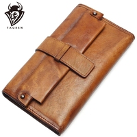 Women Long Hasp Phone Wallet Vintage Genuine Leather Ladies Wallets Retro Paint Purse New European Female Case For Women
