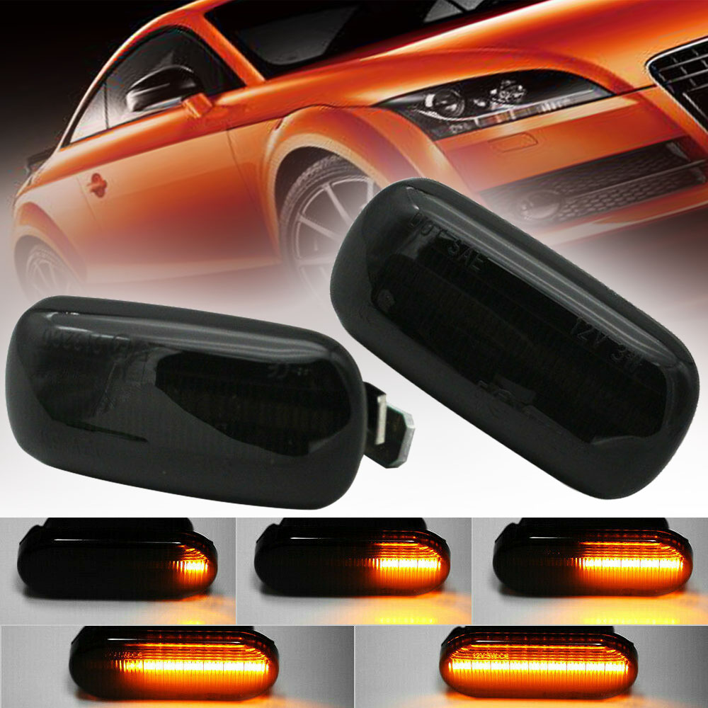 For A4 S4 B6 B7 A6 C5 TT A8 2pcs Smoke Lens Amber Car Signal Lamp Flowing LED Side Marker Signal Light Mayitr