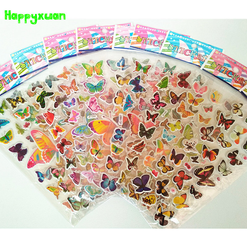 Happyxuan 10 sheets /lot Kids Beautiful PVC Puffy Stickers Butterfly Kids Reward Sticker for School Teacher Early Learning Toys 10 sheets cute masha and bear 3d stickers diary pvc puffy reward kids lot kawaii educational bubble stickers for notebook
