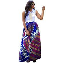 Women African Dashiki Spring Summer Maxi Beach Skirt High Waist Pleated Floral Print Long Skirt цена