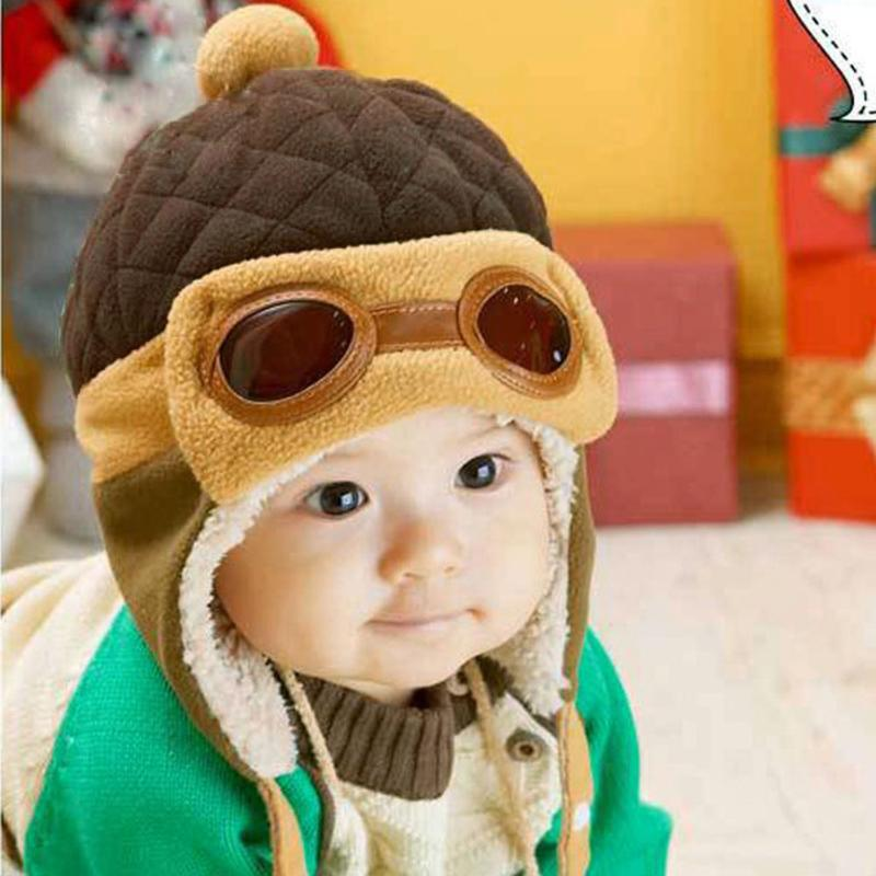Cute Winter Warm Baby Hats Infant Toddlers Boys Girls Pilot Aviator Warm Caps Soft Eargflap Hat Beanies Cap Pilot Cap