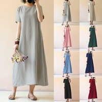 Celmia Women Vintage Linen Dress 2020 Summer Shirt Dress Short Sleeve Solid Casual Loose Party Beach Maxi Long Vestidos Hot Sale