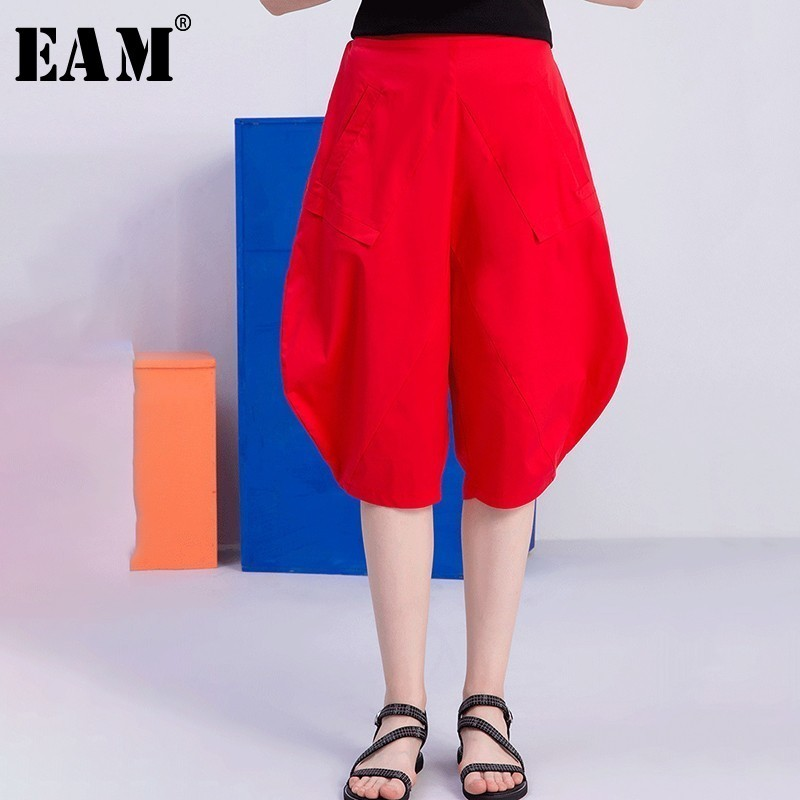 [EAM] 2019 New Spring Summer High Elastic Waist Red Split Joint Loose Leisure   Wide     Leg     Pants   Women Trousers Fashion Tide JT350